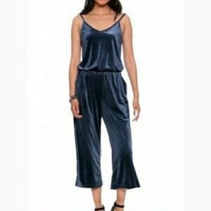 Old Navy Blue Velvet Wide Leg Jumpsuit XL